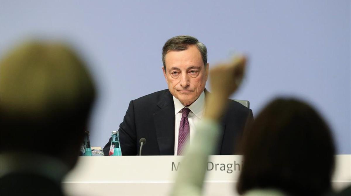 El presidente del BCE, Mario Draghi, en la rueda de prensa de este jueves.