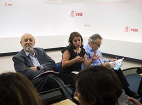 José Félix Tezanos (izquierda)junto a Adriana Lastra, portavoz del PSOE en el Congreso.