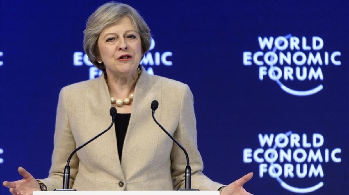 Theresa May en Davos.