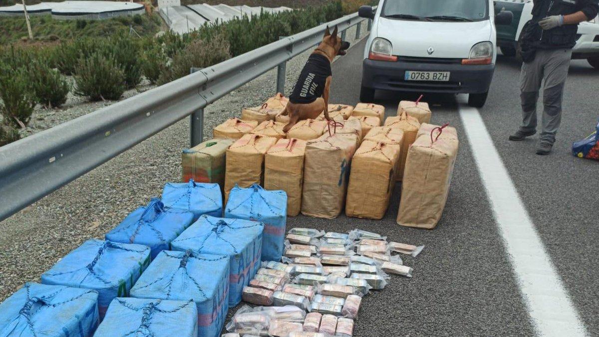 La perra Noa, de la Guardia Civil, junto a la tonelada de hachís y los más de 860.000 euros que descubrió ocultos en un camión.