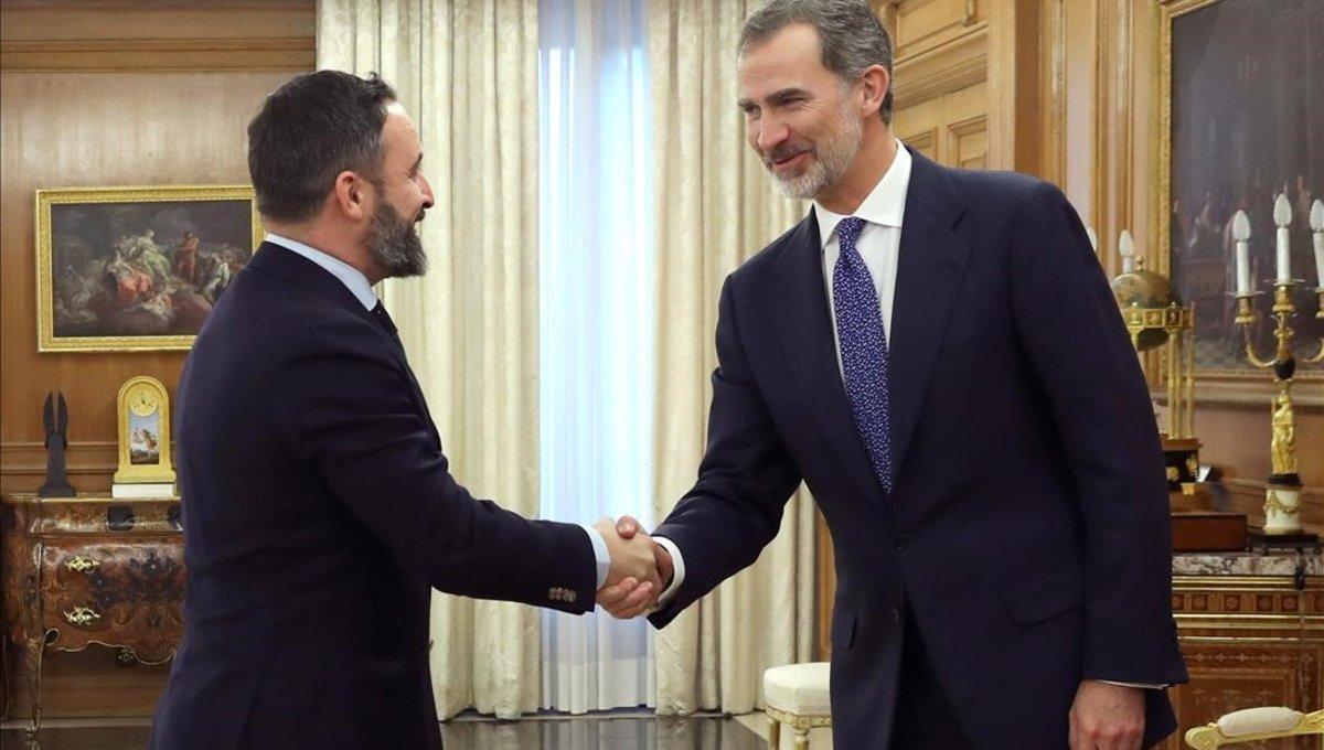 Santiago Abascal y Felipe VI, este miércoles en la Zarzuela.