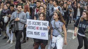 Manifestación en Barcelona contra el precio de las tasas universitarias, en marzo del 2017.