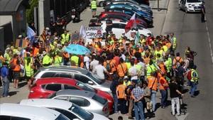 Una protesta de los examinadores de tráfico en julio