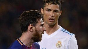 Messi y Cristiano, en su último clásico en el Camp Nou. Mayo del 2018.