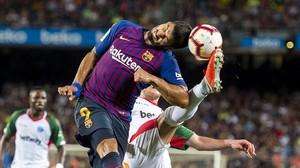 Luis Suárez, en un lance del partido frente al Huesca.
