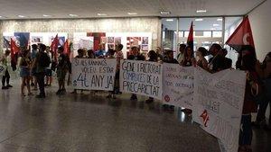 Manifestacióndel colectivo Doctorandes en Lluita en Barcelona el 06 de Septiembre de 2019.