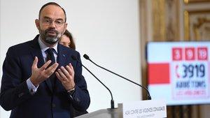 El primer ministro francés, Edourd Philippe, durante una charla contra la violencia de género, este lunes.