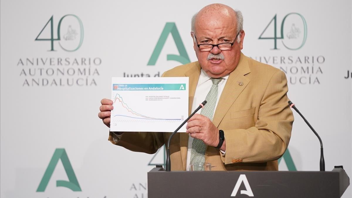 El consejero de Salud de la Junta de Andalucía, Jesús Aguirre, en rueda de prensa tras el Consejo de Gobierno.