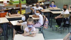 Interior de una aula el centro escolar l'Esperança, Barcelona.