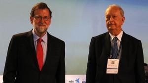 Mariano Rajoy y el presidente del Cercle dEconomia, Juan José Brugera, en Sitges.