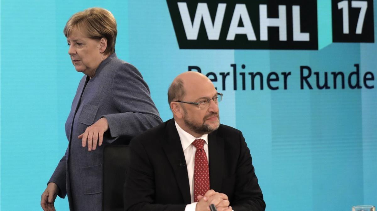 Angela Merkel y Martin Schulz el pasado mes de septiembre en Berlín.