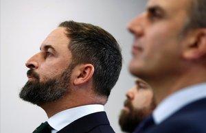 El presidente de VoxSantiago Abascal acompanado de Ivan Espinosa de los Monteros y Javier Ortega Smith