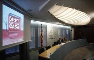 Rueda de prensa de Ada Colau y Josep Maria Muntaner.