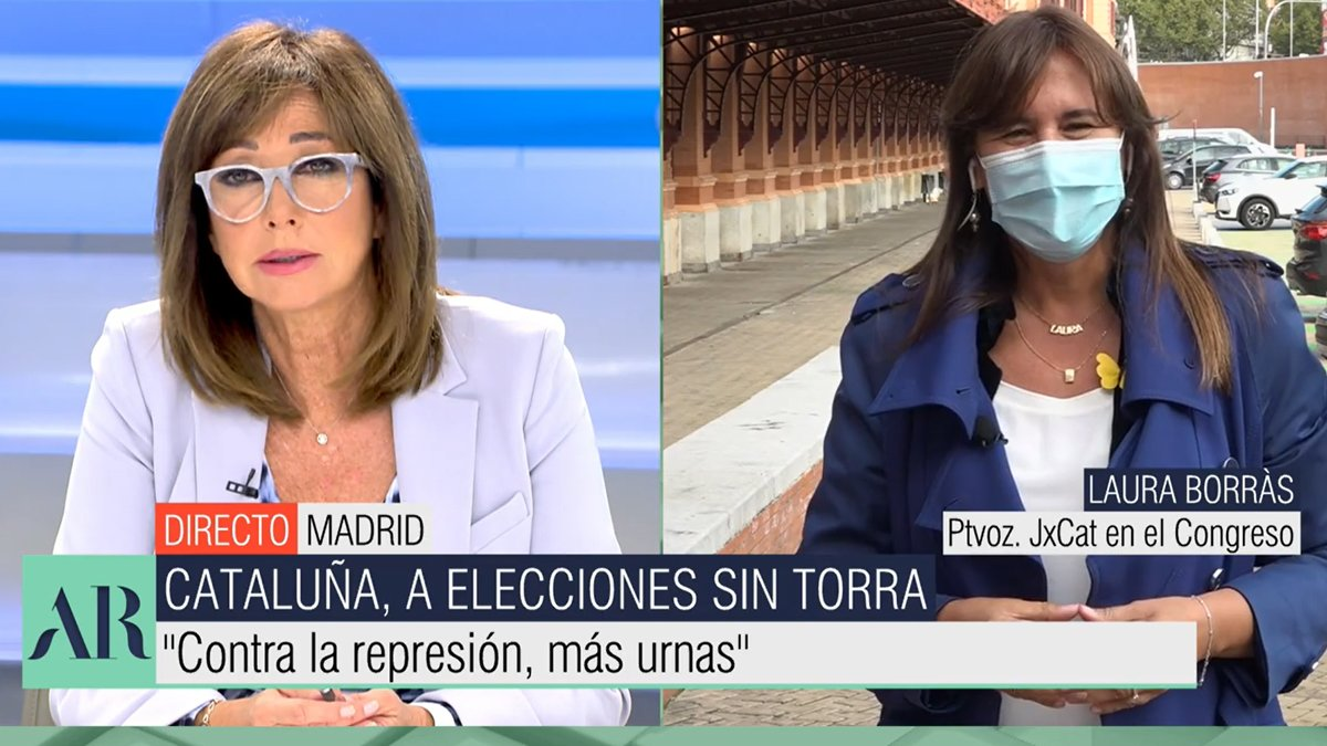 "Tensa entrevista de Ana Rosa a Laura Borràs tras la inhabilitación de Torra: ""Un saludo desde España"""