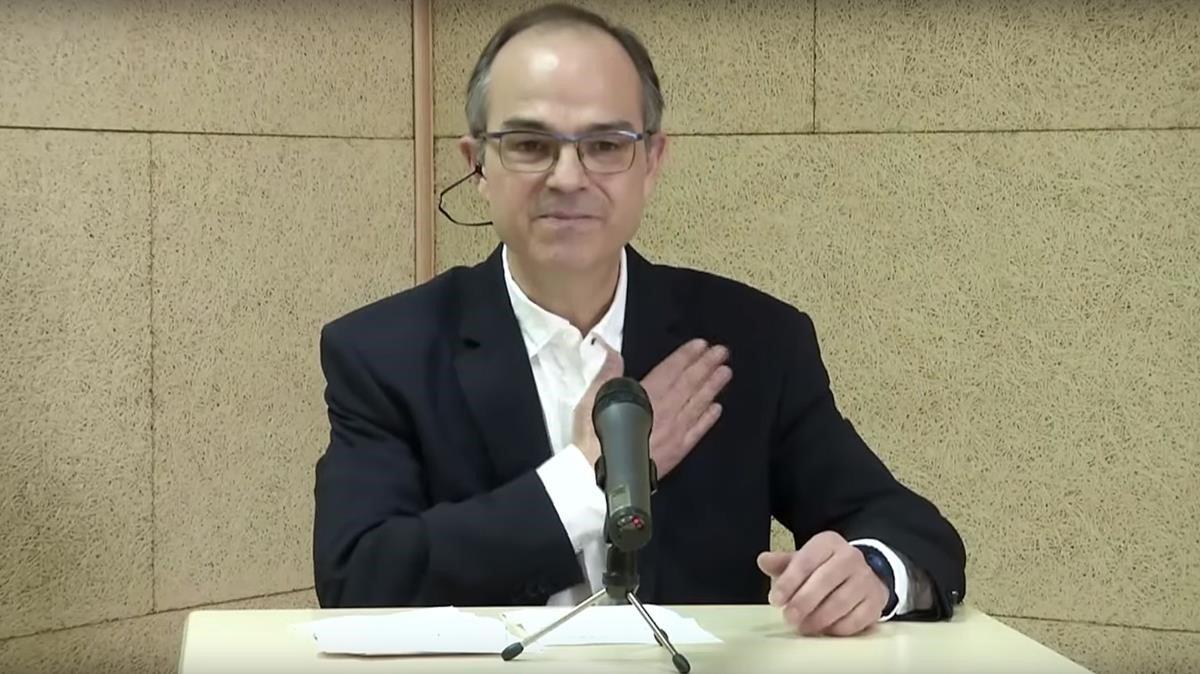 El cabeza de lista de JxCat por Lleida, Jordi Turull, interviene por vía telemática en un acto del partido.