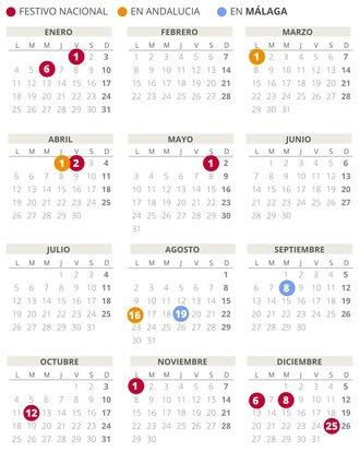 Calendario laboral de Málaga del 2021.