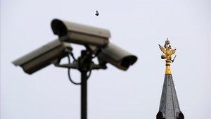 Cámaras de vigilancia en el centro de Moscú.