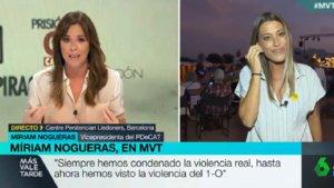 Tremendo zasca de Mamen Mendizábal a la dirigente del PDECat Míriam Nogueras