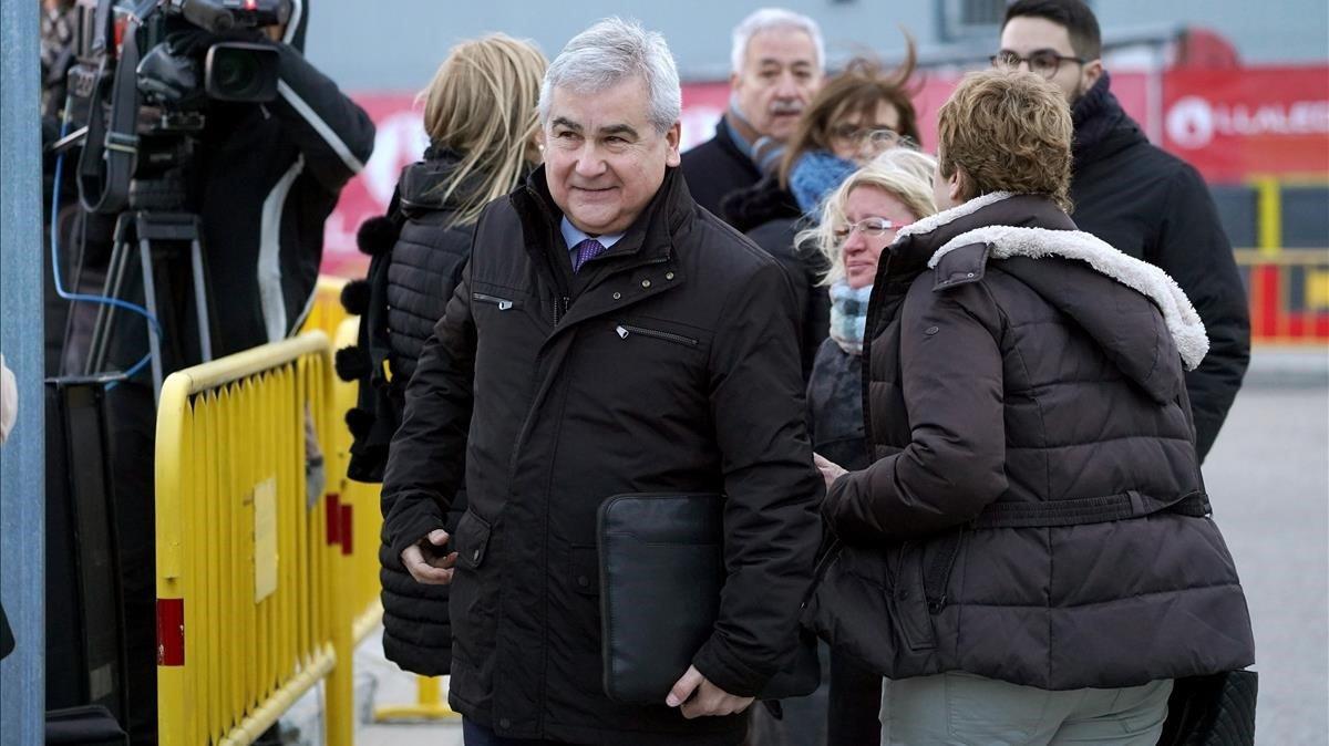 El ex secretario general de Interior de la Generalitat,Cèsar Puig,a su llegada a la Audiencia Nacional