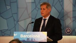 Fernández Díaz, en la sede del PP en Barcelona, donde pronunció su conferencia.