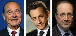 D'esquerra a dreta, Jacques Chirac, Nicolas Sarkozy i François Hollande.