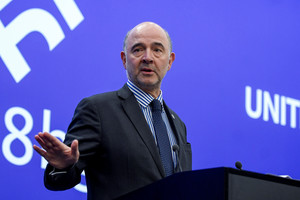 European Economic and Financial Affairs Commissioner Pierre Moscovici speaks during a news conference at the Informal meeting of economic and financial affairs ministers (ECOFIN) in Sofia, Bulgaria, April 28, 2018. Nikolay Doychinov/EU2018BG/Handout via REUTERS ATTENTION EDITORS - THIS PICTURE WAS PROVIDED BY A THIRD PARTY. NO RESALES. NO ARCHIVE.