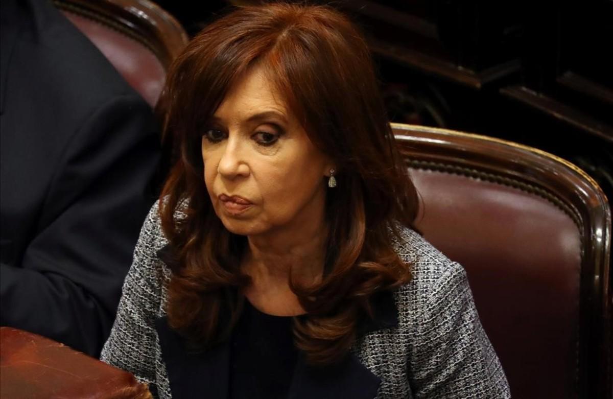 La expresidenta argentina Cristina Fernández de Kirchner, durante una sesión en el Senado, el pasado agosto.