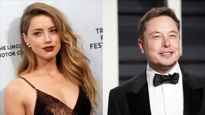 La actriz Amber Heard y su novio, el multimillonario Elon Musk.