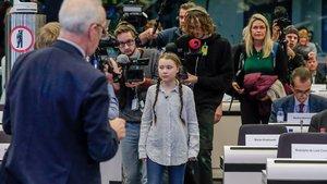 La joven activista sueca Greta Thunberg, este jueves en el Parlamento europeo, en Bruselas.