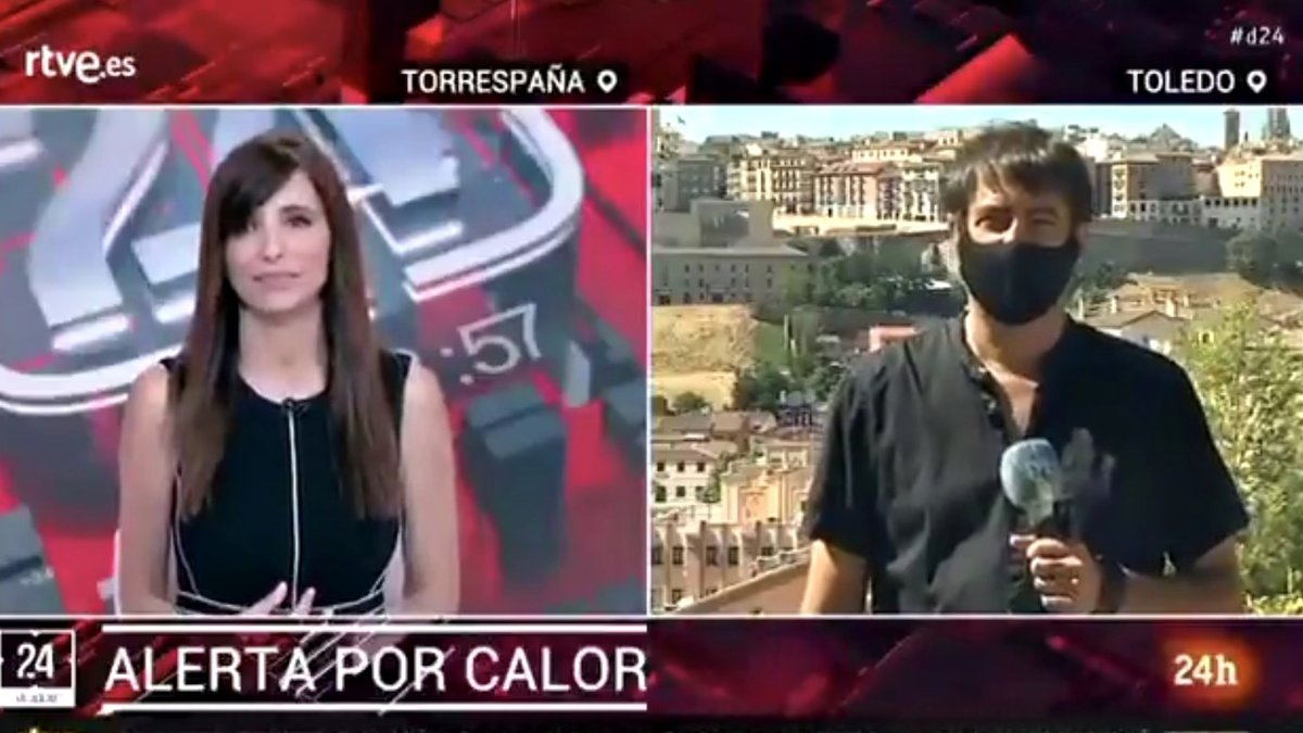 """El dardo de un reportero del Canal 24 Horas por informar de las altas temperaturas al sol: """"Lo raro sería que no hiciera calor"""""""