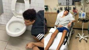 El 'influencer' estadounidense Larz lamiendo la tapa de un váter (izquierda) y, unos días después, hospitalizado por coronavirus.