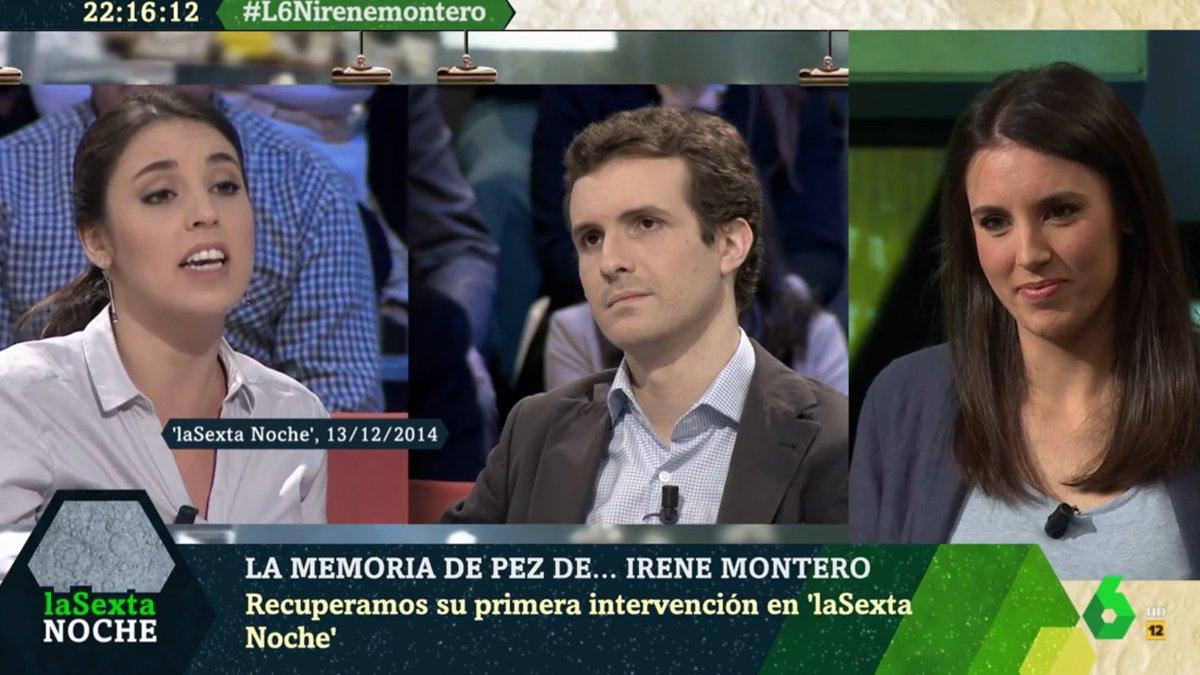 'La Sexta noche' recupera la primera vegada d'Irene Montero al seu plató i la seva picabaralla amb Pablo Casado