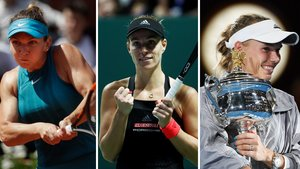 Las tenistas Simona Halep, Angelique Kerber y Caroline Wozniacki, de izquierda a derecha.