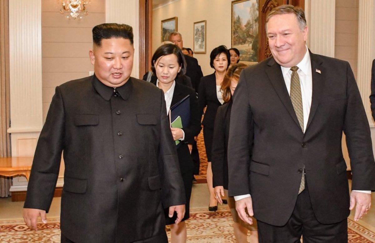 El líder de Corea del Norte, Kim Jong-un, y el secretario de Estado de EEUU, Mike Pompeo.