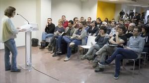Eulàlia Reguant, en un momento de la conferencia política que ha celebrado la CUP este jueves en Barcelona.