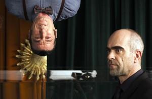 Luis Tosar y Luis Zahera, durante el rodaje del anuncio de Voll-Damm que ha dirigido Daniel Monzón.