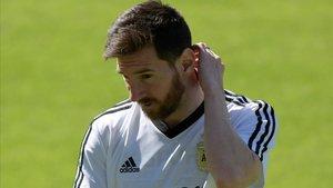 Messi, en Belo Horizonte, en un entrenamiento de Argentina.