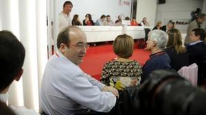 El primer secretario del PSC, Miquel Iceta, en la reunión del comité federal del PSOE.