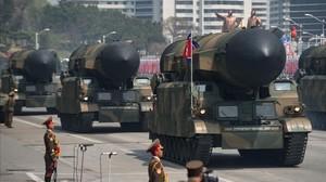 Misiles en el desfile militar del pasado 15 de abril en Pionyang,en Corea del Norte