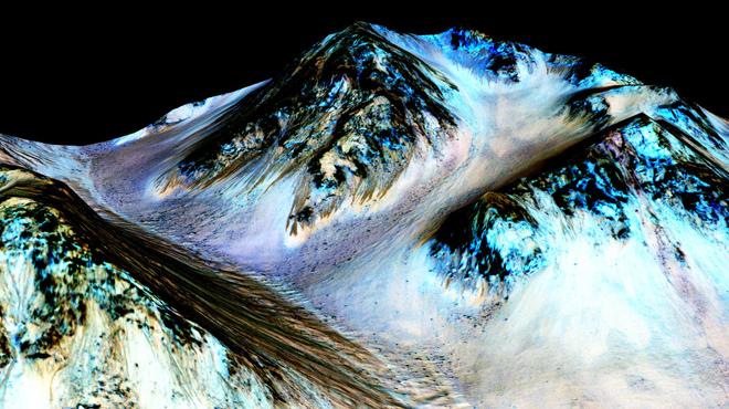 Ratlles fosques i estretes, de 100 metres de longitud, on flueix aigua avui dia a Mart.