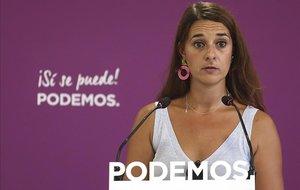 Noelia Vera, de Podemos, en rueda de prensa.