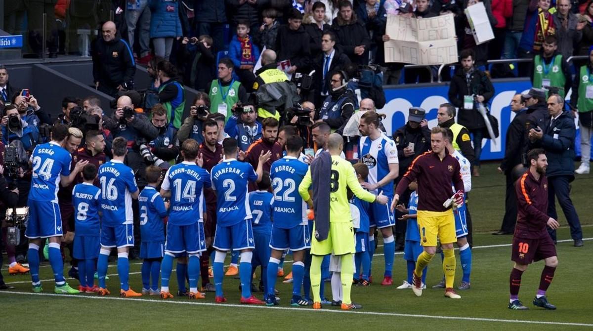Pasillo del Deportivo al Barça con motivo del título de Copa.
