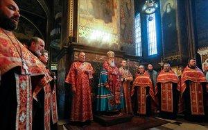 El patriarca de la iglesia ortodoxa de Ucrania, en Kiev.