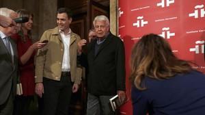 Pedro Sánchez y Felipe González, este jueves en un acto en Madrid.
