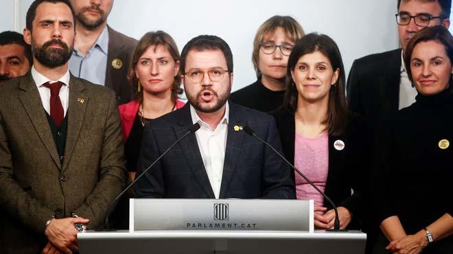 Pere Aragonès (ERC) pide la puesta en libertad inmediata de Junqueras y la nulidad de la condena.