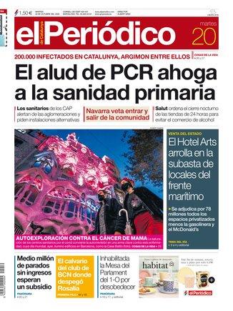 La portada de EL PERIÓDICO del 20 de octubre del 2020.