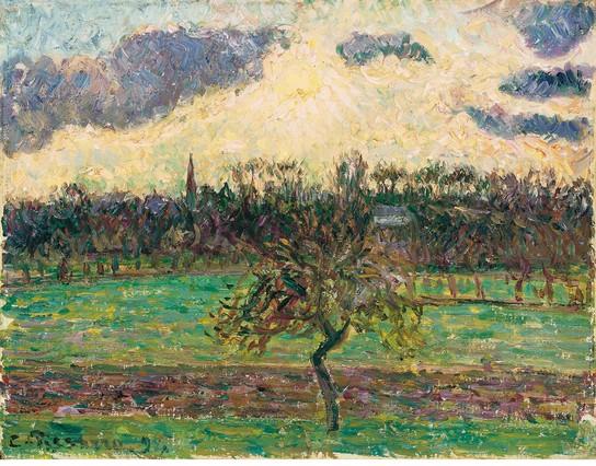 'Prados de Éragny, el manzano' (1894), de Camille Pissarro. Óleo sobre lienzo. 27,3 x 35,6 cm. Colección Carmen Thyssen-Bornemisza, en depósito en el Museo Thyssen-Bornemisza, Madrid