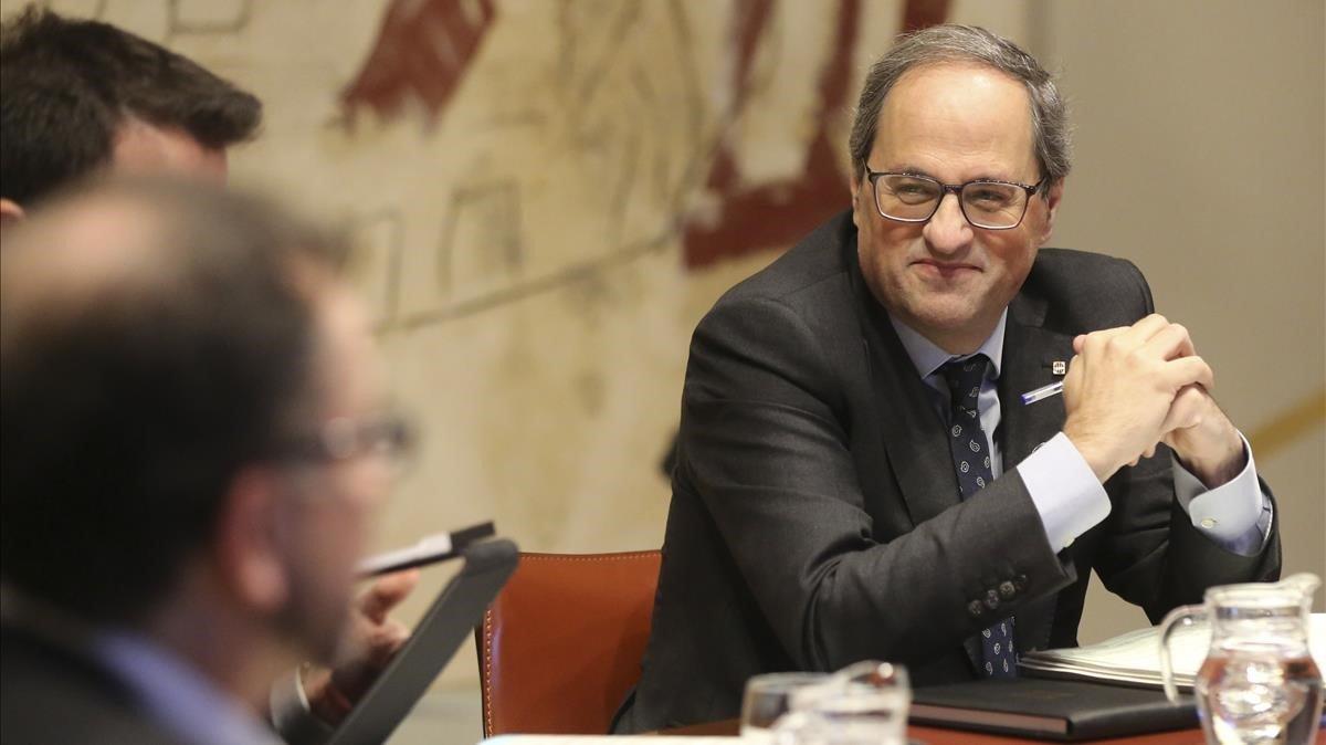 El president Quim Torra, en la reunión del Consell Executiu de este martes.