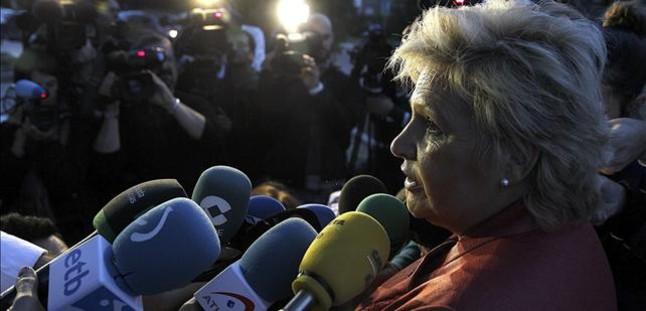 La presidenta de honor de la AVT, Ángeles Pedraza, tras una reunión que mantuvo con Rajoy.