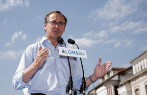 El presidente del PP vasco, Alfonso Alonso, durante su intervención el sábado en un acto político, en Vitoria.